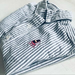 [Izod] Striped Sailboat Short Sleeve Button Shirt
